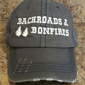 "Accessories - NEW! ""Backroads & Bonfires"" distressed trucker hat"